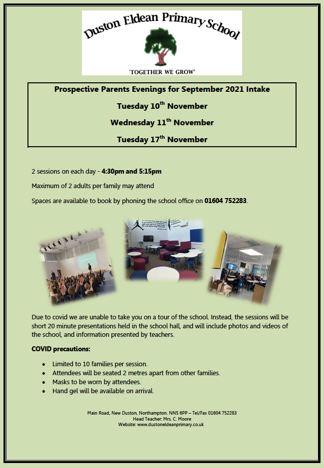 Prospective parents Evening For September 2021 Intake